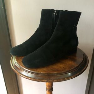 Tod's suede and patent leather ankle boots